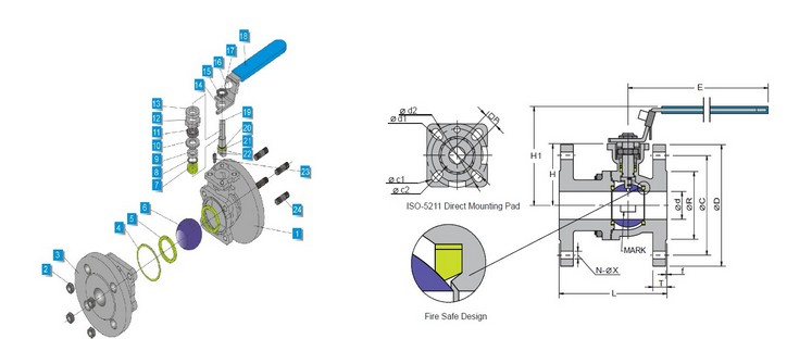 DESIGN DRAWING OF PNEUMATIC BALL VALVE